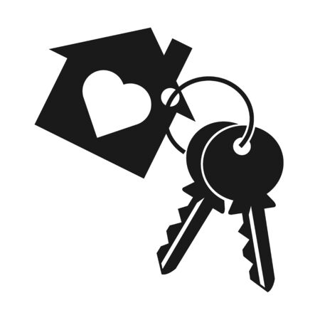 Casa con corazón, dos llaves y llavero. Símbolo de llavero, silueta de icono sobre fondo blanco.