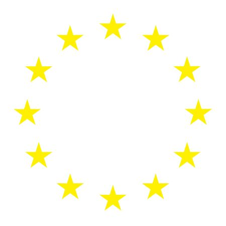 European official star gold union flag , EU flag , color isolated on background .