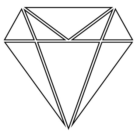 Diamond flat icon  vector. Web symbol. Perfect Black pictogram illustration on white background .