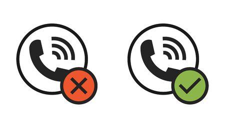 Flat ringing phone set phone isolated on white background. Vector illustration .