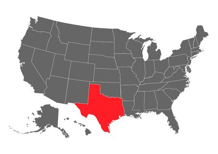Texas vector map. High detailed illustration. United state of America country .