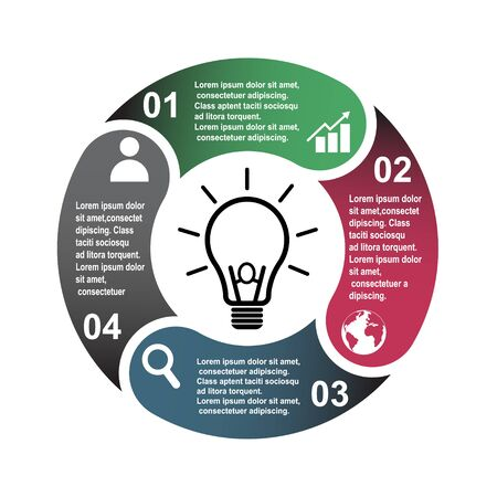 4 step vector element in four colors with labels, infographic diagram. Business concept of 4 steps or options with bulb .