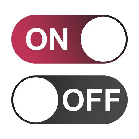 On and Off switch color buttons isolated on white background for app, ui etc . Ilustrace