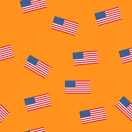 USA flag seamless patern isolated on orange background. American sign vector design .