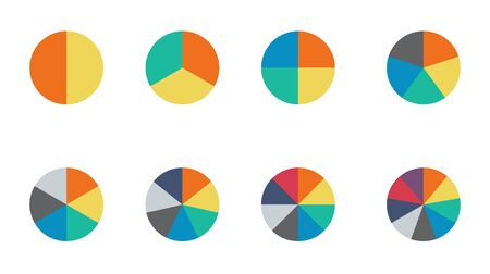 Infographic pie chart set. Cycle collection - 2,3,4,5,6,7 and 8 section. Vector isolated on white background .