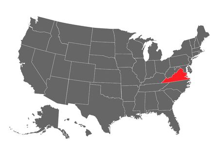 virginia vector map. High detailed illustration. United state of America country .