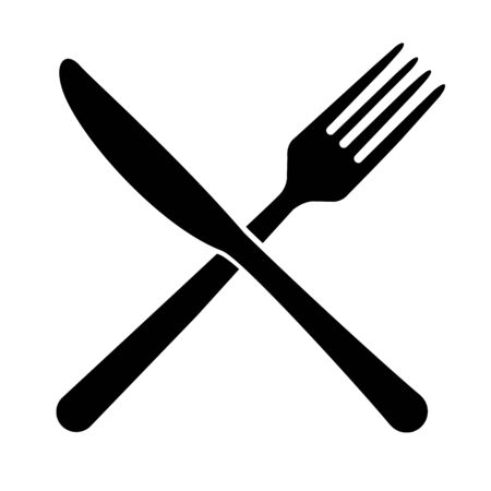 Fork and knife icon isolated on white background. Trendy tool design style .
