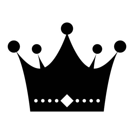 Icône de vecteur plat couronne isolé sur fond blanc. Objet d'illustration de signe de roi.
