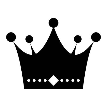 Icona di vettore piatto corona isolato su priorità bassa bianca. Oggetto dell'illustrazione del segno del re.