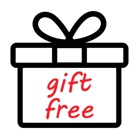 Gift free box icon design. Vector present symbol isolated on white background .