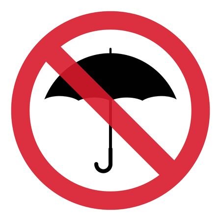 Umbrella Stop flat icon vector design isolated on white background. Rain drop protection .