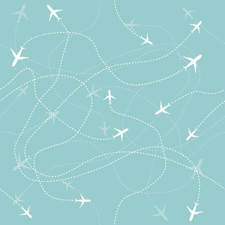 Travel aircraft seamless pattern. Fly vector graphic background. Symbol illustration . Ilustrace