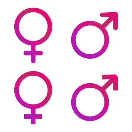 Male and female icon, symbol set. Website design vector illustration isolated on white background .