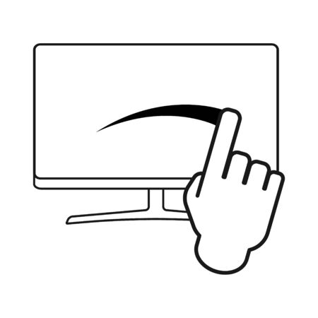 Touch screen icon for app, website. ui etc. Click finger isolated on white background . Ilustrace
