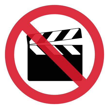 Stop clapper board icon on white background. Vector flat film video illustration .