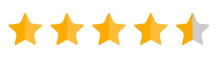 Four and half stars, customer quality symbol, vector product rating review flat icon for hotel, restaurant etc .