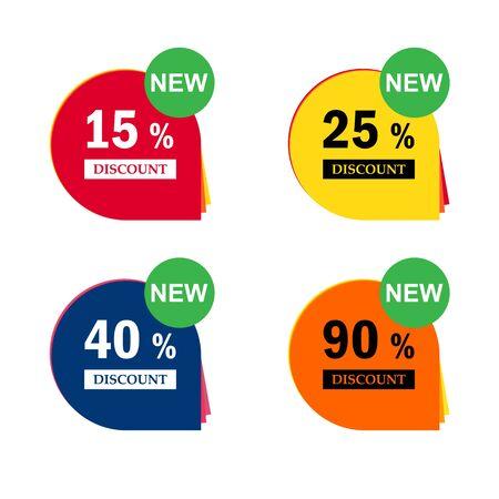 Venta de iconos de descuento. Señales de precio de oferta especial. 15, 25, 40 y 90 por ciento de descuento en símbolos de reducción. Ilustración de vector