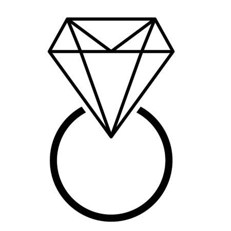 Diamond ring flat icon  vector. Web symbol. Perfect Black pictogram illustration on white background .