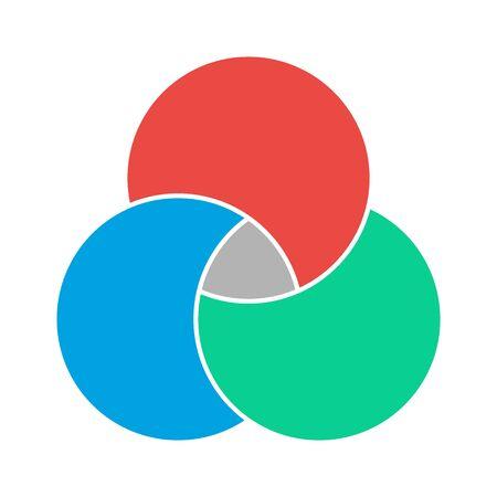 Vector de matemáticas de diagrama de Venn, espacio negativo, icono moderno de color - aislado sobre fondo blanco.