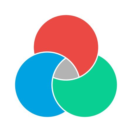 Venn diagram maths vector, Negative space, color modern icon - isolated on white background .