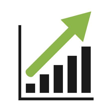 Growing economic symbol, flat modern icon, isolated on white background . Ilustrace