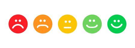 Set di emoticon piatto isolato su sfondo bianco. Emozione felice o arrabbiata, Vettoriali