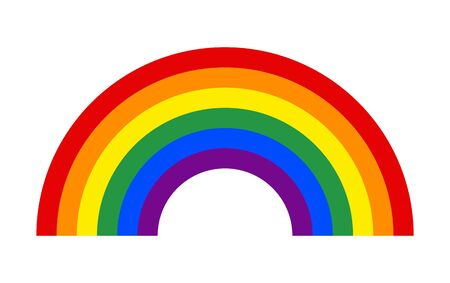 Rainbow decorative icon vector, isolated on background. Colorful graphic design illustration .