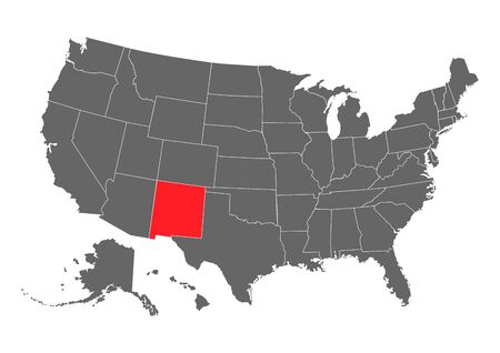 new mexico vector map. High detailed illustration. United state of America country .