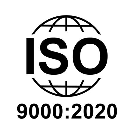 Iso 9000:2020 icon. Standard quality symbol. Vector button isolated on black background .