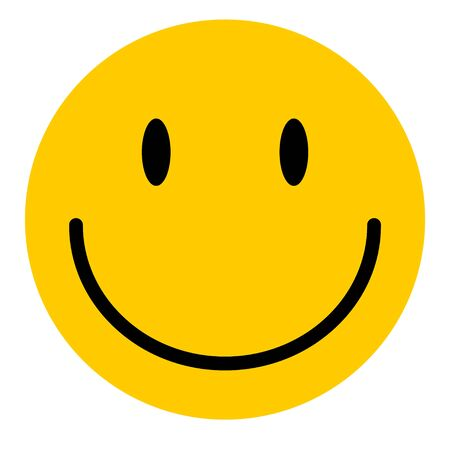 Happy emoticon smile face isolated on white background.  Vector character icon . Ilustrace