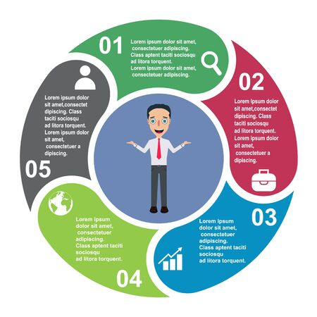 5 steps vector element in five colors with labels, infographic diagram. Business concept of 5 steps or options with businessman .