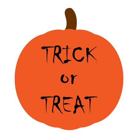 Trick or Treat, Halloween icon vector. Pumpkin flat silhouette on a white background .