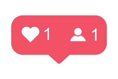 Heart and counter,friend request quantity follower notification symbol. Button for social media . Ilustrace