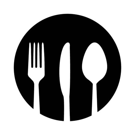Spoon, fork and knife icon isolated on white background. Trendy tool design style . Ilustrace