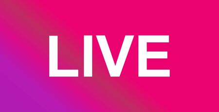 Live streaming icon. Modern vector button design isolated on color gradient background .