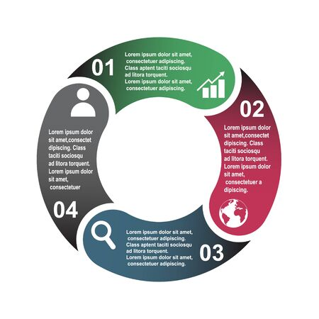 4 step vector element in four colors with labels, infographic diagram. Business concept of 4 steps or options with empty . Ilustrace