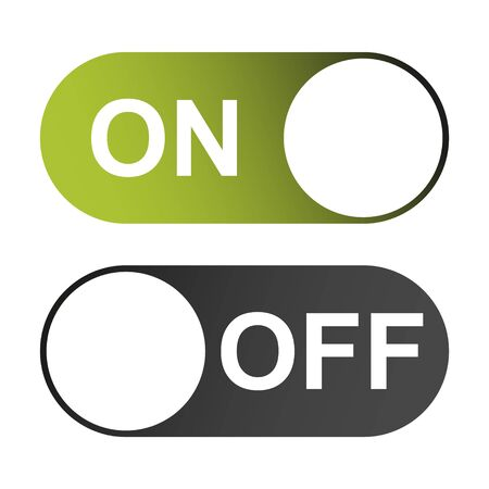 On and Off switch color buttons isolated on white background for app, ui etc . 일러스트