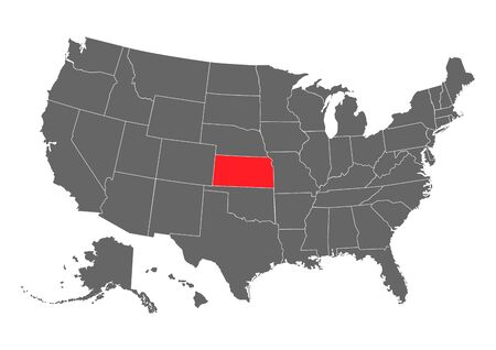 Kansas vector map. High detailed illustration. United state of America country . Ilustrace
