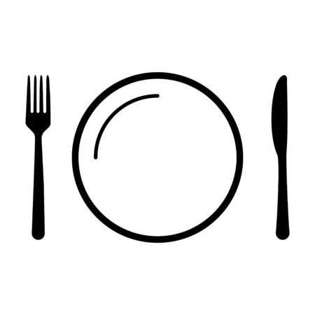 Fork,knife, and plate icon isolated on white background. Trendy tool design style .