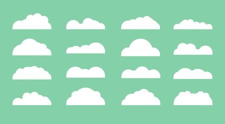 Set of diffenrent cloud icons in flat design isolated on green background. Cloud symbol for your web etc .
