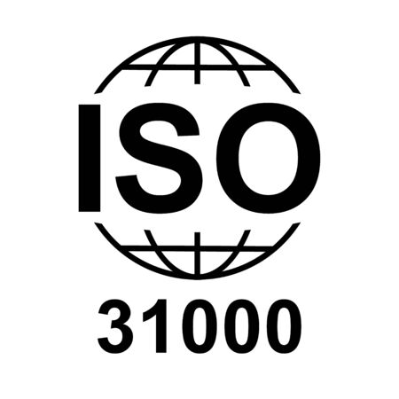 Iso 31000 icon. Standard quality symbol. Vector button isolated on black background . Vettoriali