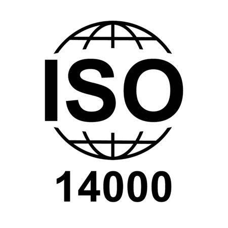Iso 14000 icon. Standard quality symbol. Vector button isolated on black background .