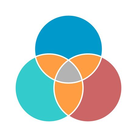 Venn diagram maths vector, Negative space, color modern icon - isolated on white background . Illustration