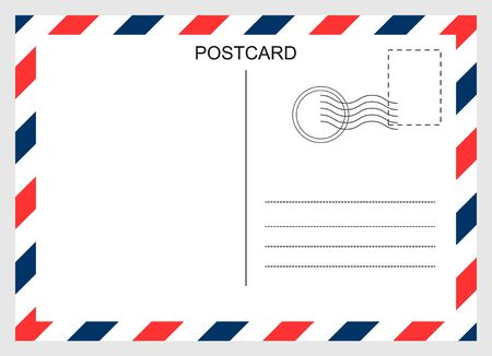 Postcard, travel blank card isolated on background. Modern graphic design Vector Illustration