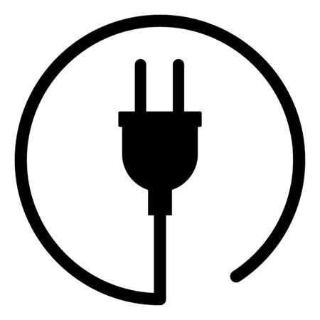 Electric plug vector icon isolated on white background. Energy adapter, web symbol .