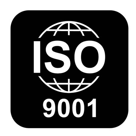 Iso 9001 icon. Standard quality symbol. Vector button isolated on black background . Vettoriali