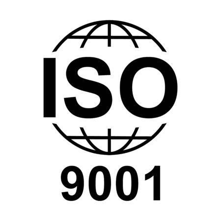 Iso 9001 icon. Standard quality symbol. Vector button isolated on black background .