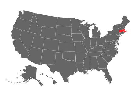 massachusetts vector map. High detailed illustration. United state of America country . 向量圖像