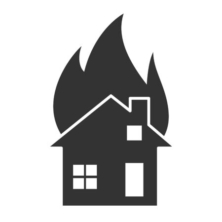 Fire flame house icon. Fire hot flames vector sign isolated on white background .