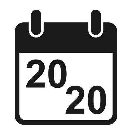 Calendar icon, 2020 date event symbol isolated on white background. Vector web button . Foto de archivo - 143709790